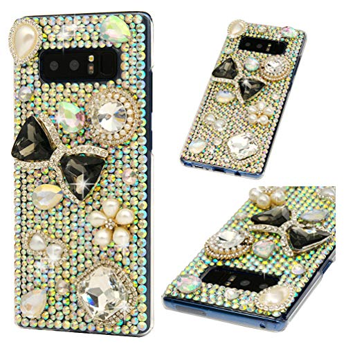 (Galaxy Note 8 Case, Crystal Clear PC Shell Edge Raised 3D Handmade Bling Shiny Glitter Sparkle Full Diamonds Rhinestones Gem Ultral Slim Bumper Colorful Jewelry Cover for Samsung Galaxy Note 8)