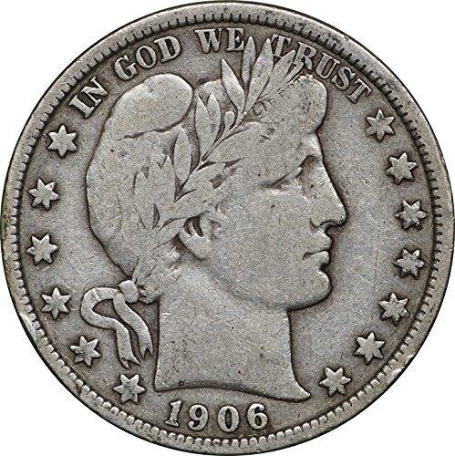1906 Barber Silver Half Dollar, F, 50C Fine