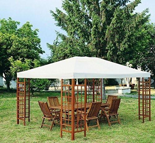 Sossio Cimmino - Pérgola modelo Orchidea de 3 x 3 mt con estructura de madera y cubierta de poliéster de 180 gr: Amazon.es: Jardín