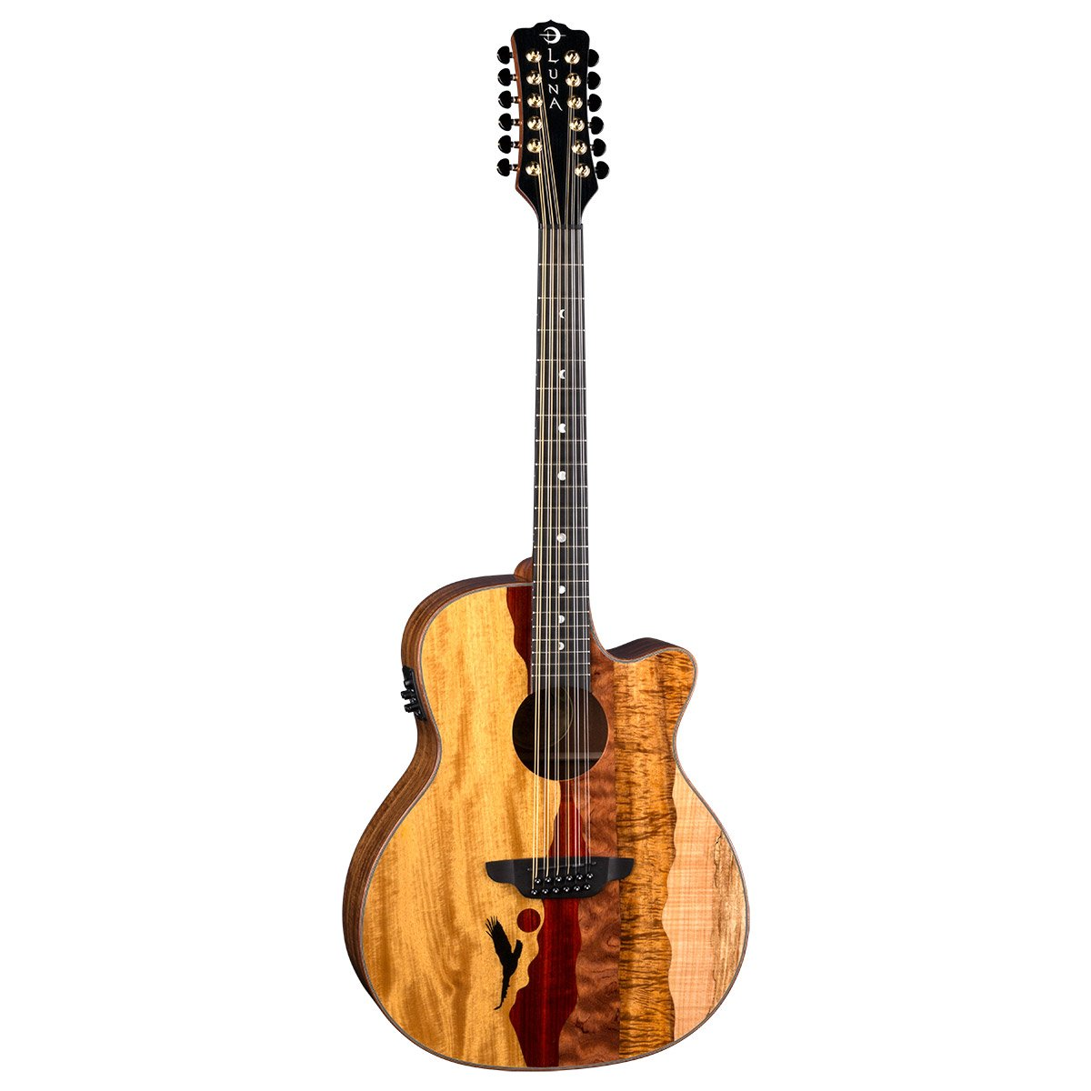 Luna Guitars 6 String Acoustic Guitar, Right, Multi (VISTA EAGLE 12) by Luna Guitars