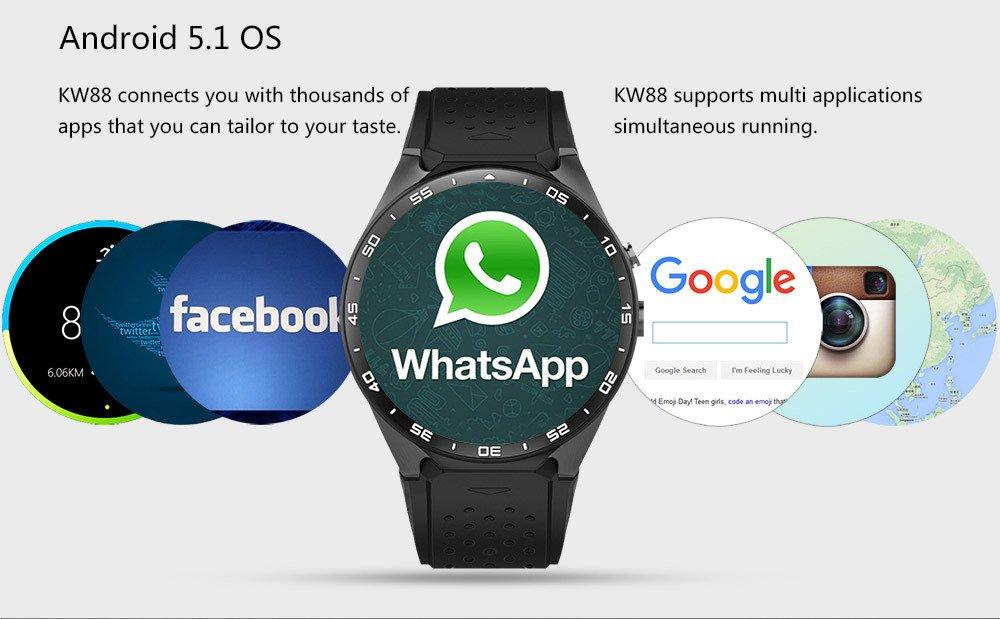 Android 5.1 Reloj Inteligente teléfono Bluetooth 4.0 Monitor ...