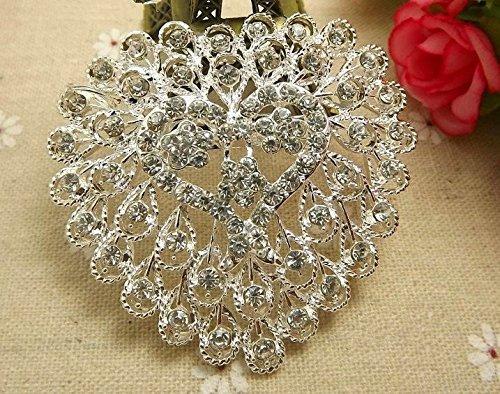 1pc Wholesale Rhinestone Crystal Wedding Bridal Bouquet Flower Pearls Brooch Pin (Wholesale Rhinestone Pins)