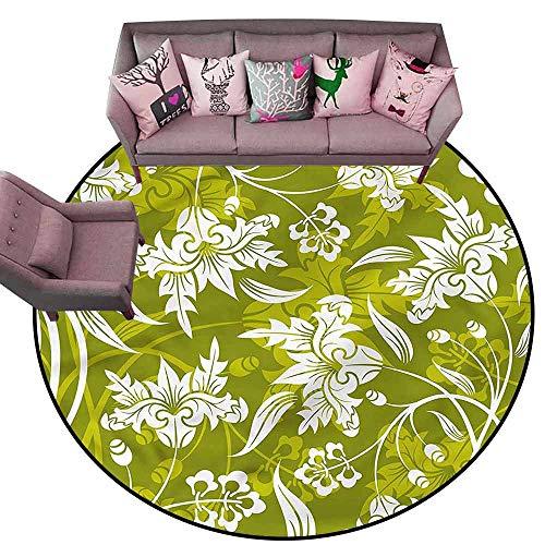 (Non Slip Door Mat for Front Door Floral,Green Flower Pattern Diameter 72