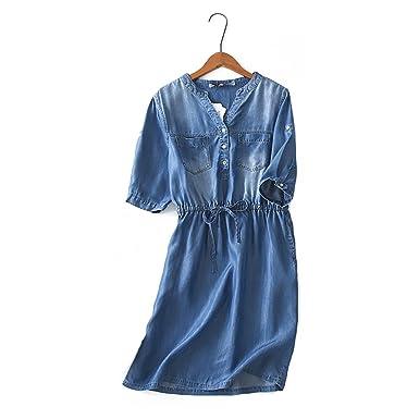 Omuutr Kleid Damen Jeanskleider V Ausschnitt Blusenkleid