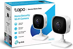 TP-LINK Tapo Mini Smart Security Camera, Indoor CCTV, Works with Alexa & Google Home, No Hub Required, 1080p, 2-Way Audio, Night Vision, SD Storage, Free Tapo App (Tapo C100)