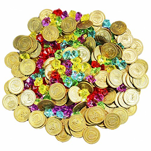 Joyin Toy 288 Pieces Pirate Gold Coins and Pirate Gems Jewelry Playset Pack Party Favor. (144 Coins+144 Gems) - Gold Coins Party Favors