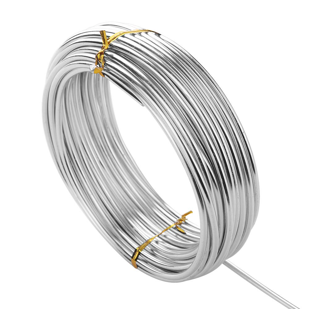 32.8 Feet Silver Craft Wire, DIY Aluminum Wire, Bendable Metal Wire for Assorted Crafts (3mm Thick) VISEMASN CO. LTD