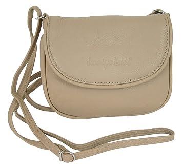 2eab803582ea02 Kleine Echt-Leder Damen Umhängetasche Schultertasche Beige crossover  Handtasche Abendtasche crossbody bag (6210)