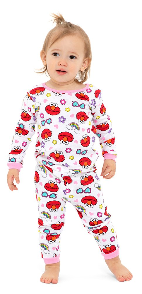 1313a4092 Sesame Street Toddler Girls' Elmo 4-Piece Cotton Pajama Set, Elmo Glam, 3T