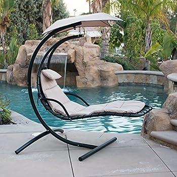 Amazon Com Belleze Hanging Chaise Beige Lounger Chair