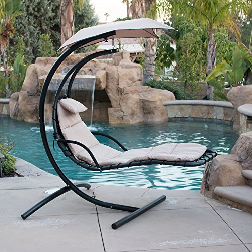 BELLEZE Hanging Chaise Beige Lounger Chair Arc Stand Canopy Air Porch Swing Hammock Chair
