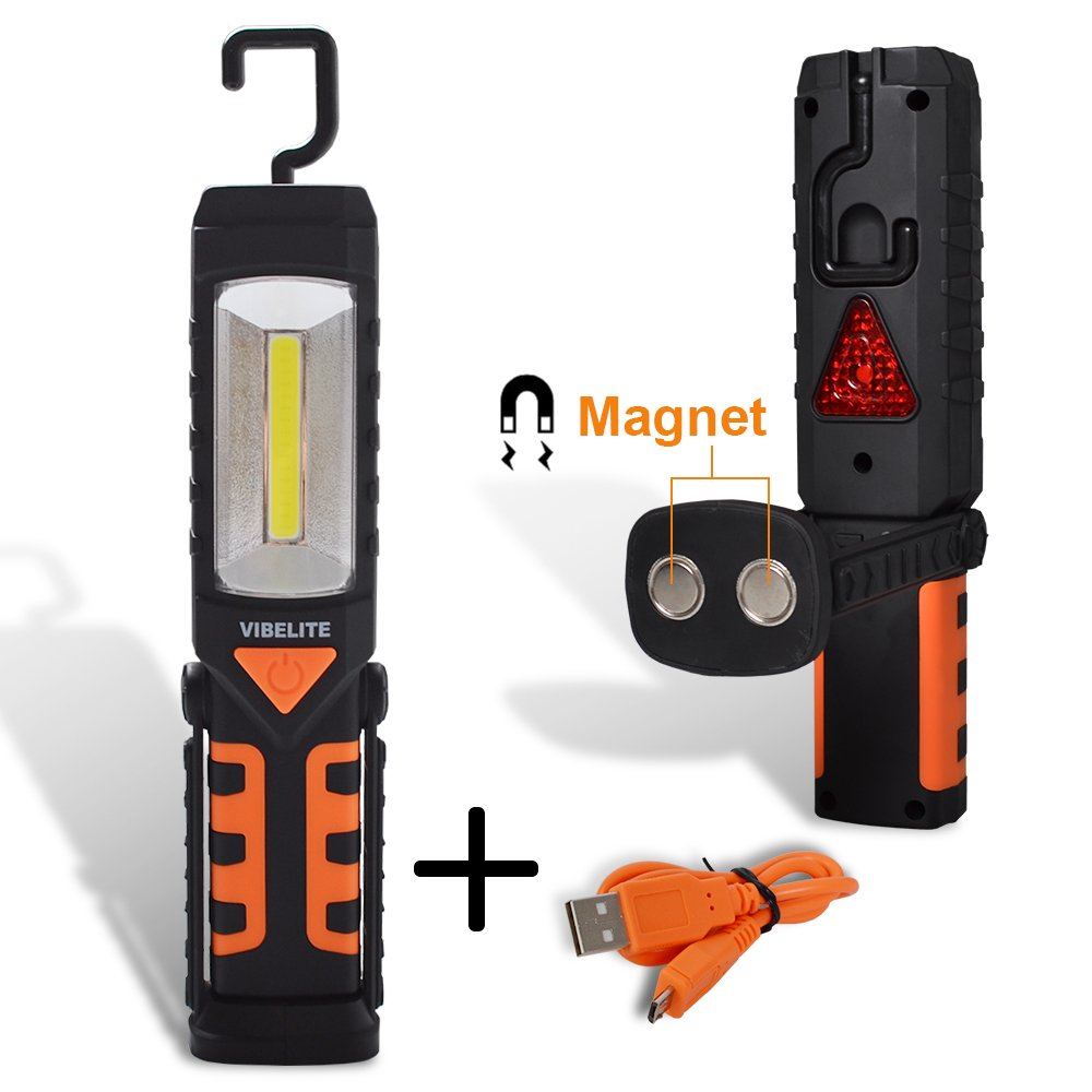 Rechargeable Work Light, Vibelite COB LED Portable Magnetic Flashlight, Inspection Lamp for Car Repair,Home Using, and Emergency (Large) Orange
