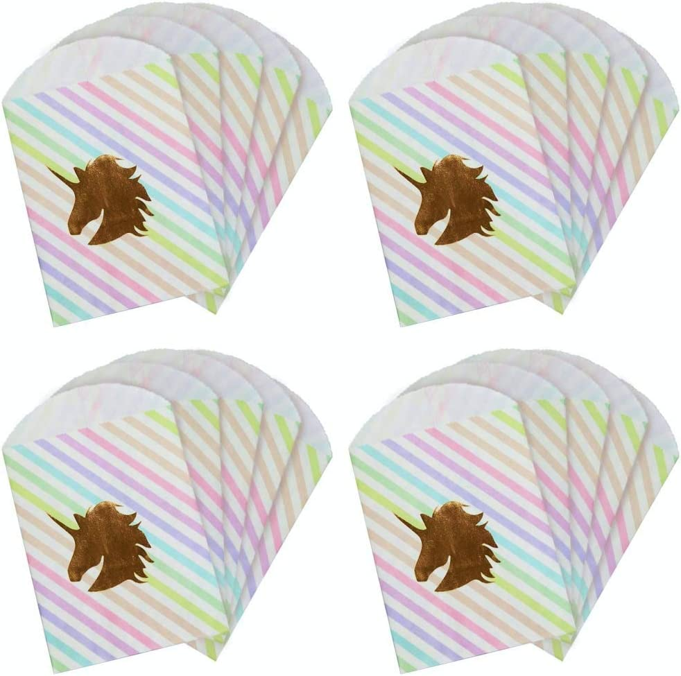 UNIQOOO 48Pcs Gold Foil Unicorn Paper Treat Bags Bulk, 100%Food Safe, Pastry Cookie Bags, For Easter Kids Birthday Party Favor Bag, Candy Buffet Decoration, Pastel Color Rose Gold, Small 7½ x4¾x½ Inch
