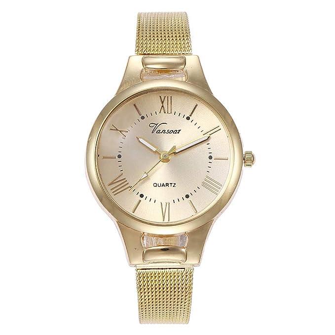 Mymyguoe Correa de Acero de Moda Reloj Reloj de Pulsera Hombre Reloj de Cuarzo Reloj Mujer Unisex Reloj de Pulsera Reloj Mujer Moda Reloj analogico Reloj de ...