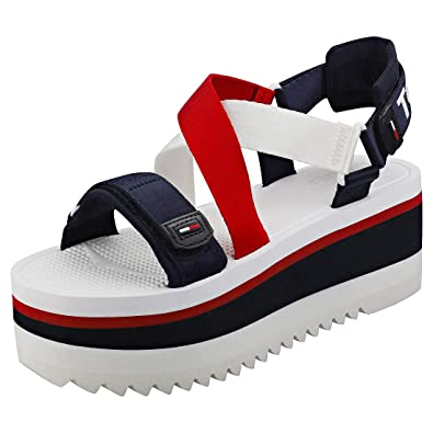 c3968f2d618b Tommy Jeans Sporty Neoprene Womens Flatform Sandals in Red White Blue - 3.5  UK