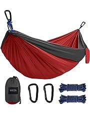 Kootek Camping Hammock Portable Indoor Outdoor Tree Hammock with 2 Hanging Ropes, Lightweight Nylon Parachute Hammocks for Backpacking, Travel, Beach, Backyard, Hiking