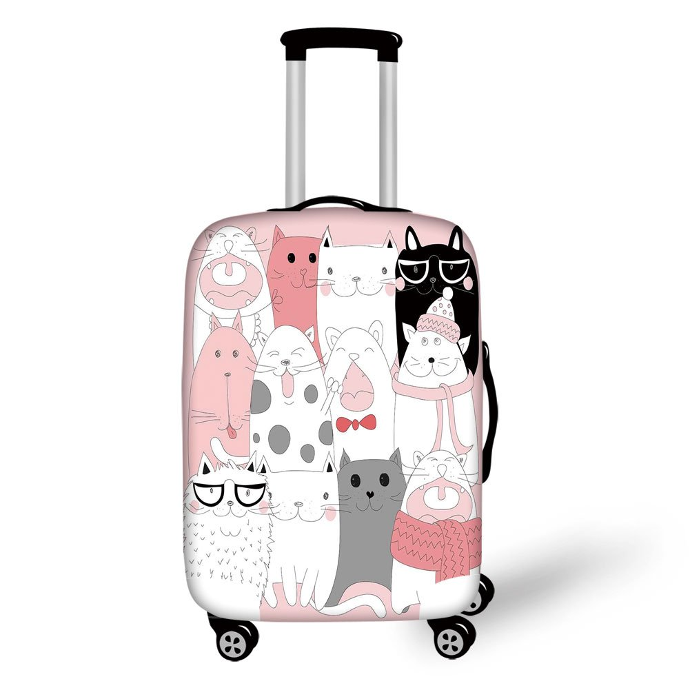Travel Luggage Cover Suitcase Protector,Cat,Cute Cartoon Kittens Collection Funny Smiling Glasses Scarfs Doodle Humor,Light Pink White Black,for Travel