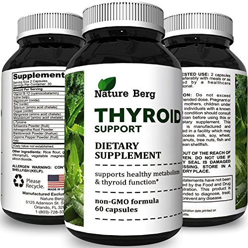 Thyroid Support Natural Complex Supplement Capsules with Vitamin B-12 Zinc and Iodine Increase Metabolism Boost Immune System Thyroid Energy Booster Weight Loss Men & Women by Opti Natural