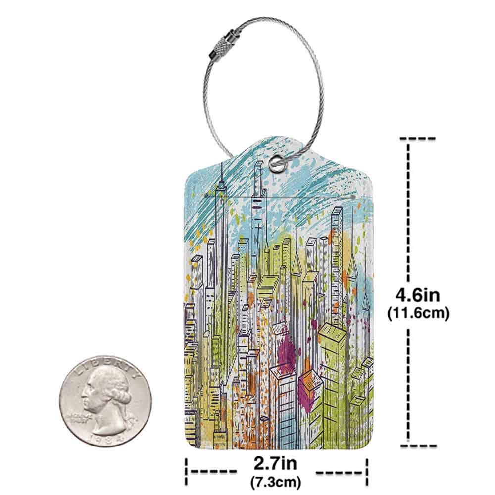 Printed luggage tag New York Urban Theme Watercolor Style Effect Landscape of City Life Skyscrapers Protect personal privacy Yellow and Sky Blue W2.7 x L4.6