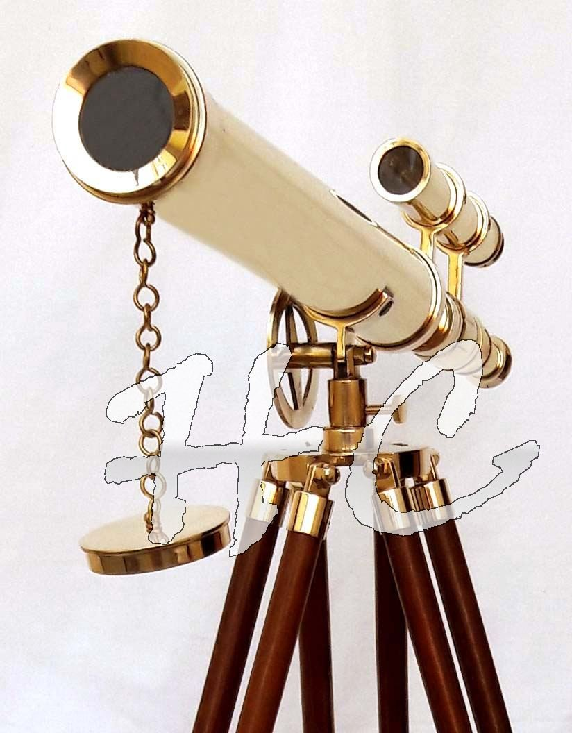 Marine Nautical Navy Brass Double Barrel Telescope 18'' With Wooden Tripod Stand by Hanzlacollection