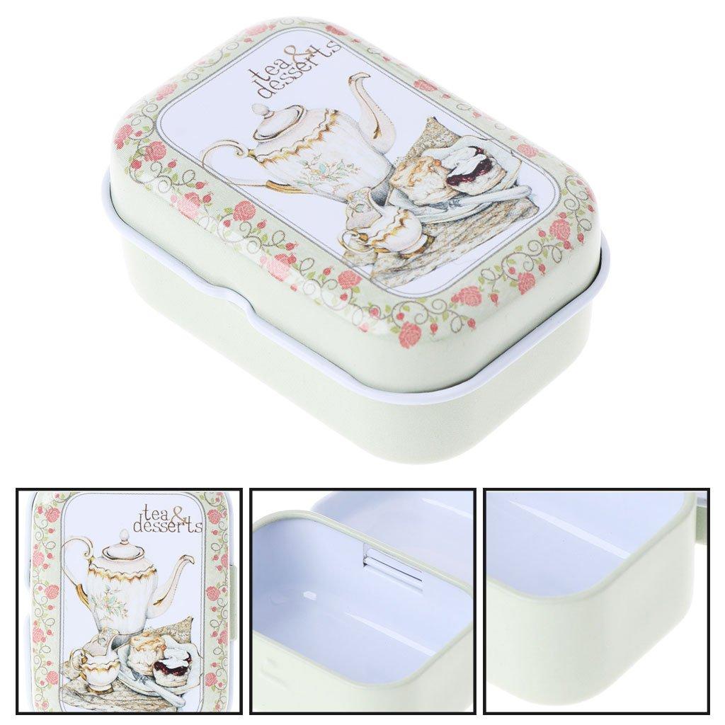 Milue Peque/ño vac/ío hojalata Lata de t/é Puede Organizador Caja de Almacenamiento para el Caso del Caramelo de la joyer/ía Random Color