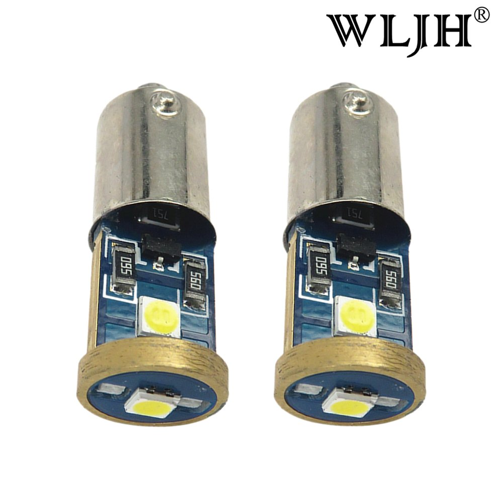 WLJH 2pcs BA9S LED Bulb 3030SMD Chips 12v 53 57 1895 64111 Canbus Error Free LED Light Bulb Replacement for Car Side Door Courtesy Lights Map Lights-2Yr Warranty