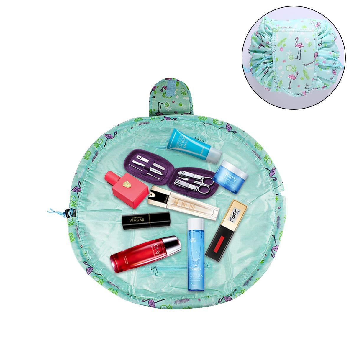 Dokpav Flamenco Bolsa de Cosméticos Maquillaje, para Señoras Perezosas, Viaje Bolsas de aseo con el lazo de la bolsa bolsa de Organizador almacenamiento de maquillaje del bolso para Viaje Diario (B)