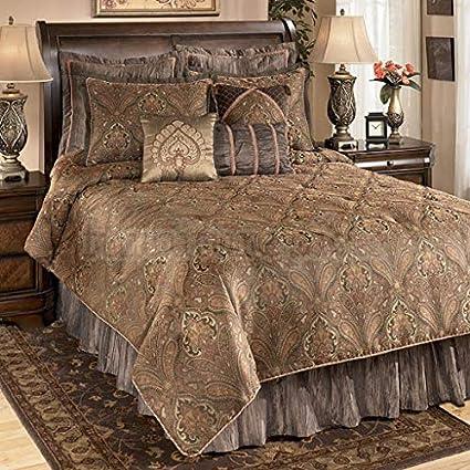 "TheFabricFactory Silk Brocade Fabric Blackish Brown & Gold  44""Bro79[6]80[5]: Amazon.in: Home & Kitchen"