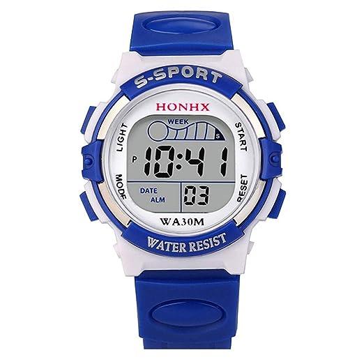Loolik Relojes Infantiles,Impermeables niños niños Digital LED Reloj Deportivo Niños Alarma Fecha Relojes (Azul): Amazon.es: Relojes