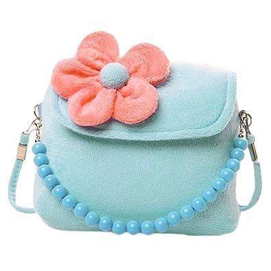 d4fde04176a2 Hinmay Kid Girls Mini Princess Messenger Shoulder Bag Flower Beads Chain Handbag  Purse (Blue)