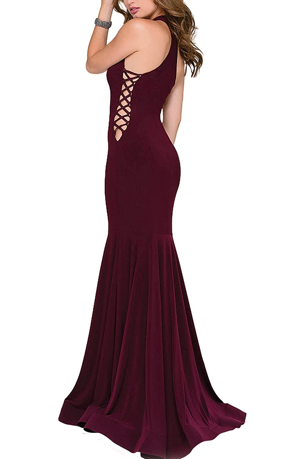 Weddder Women Sexy Mermaid Prom Dress Long Sleeveless Cross Straps Evening Gown at Amazon Womens Clothing store: