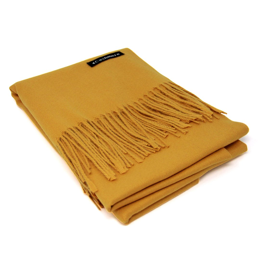 Yellow 100% Cashmere Scarf - Gift Box, Large Size, Removable Tag, Limited Availability