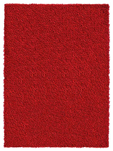 Shag Area Rug 7x10 | Plain Solid Red Shag Rugs for Living Room Bedroom Nursery Kids College Dorm Carpet by European Made MH10 Maxy -