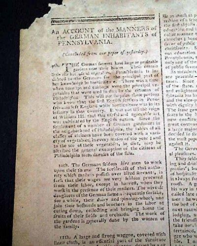 Daily Advertiser Newspaper (NEW YORK CITY Nation's Capital Pre George Washington Inauguration 1789 Newspaper THE DAILY ADVERTISER, New York, Feb. 11, 1789)