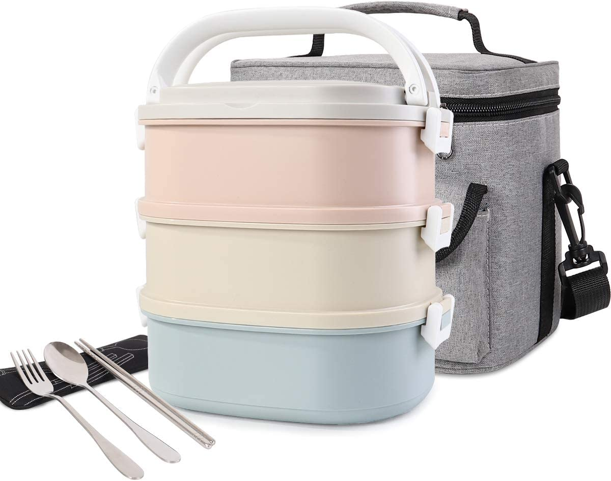 HOMESPON Stainless Steel Square Lunch Box Bento Box Insulated Lunch Container Lunch Bag with Spoon, Fork & Chopsticks for Kids Students Adults School Office (3-Tier)