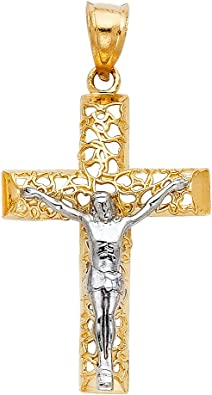 14K Two Tone Gold Jesus Crucifix Cross Religious Charm Pendant For Necklace OR Chain Ioka