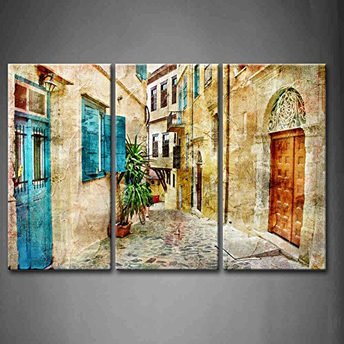 3 Panel Wall Art Old Streets Of Greece Painting The Picture