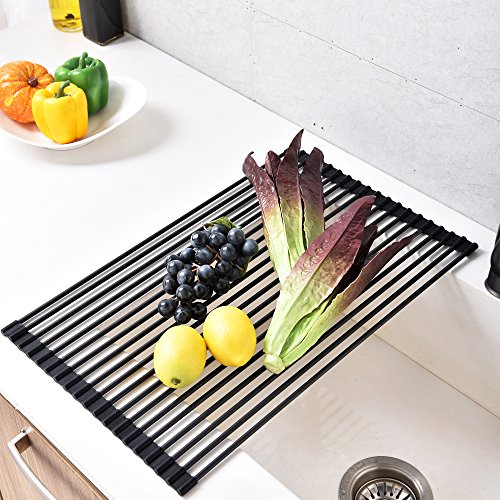 Comllen Best Large Commercial Kitchen Folding Small Mat Over the Sink Roll-Up Dish Drying Rack, Dish Drying Rack Black