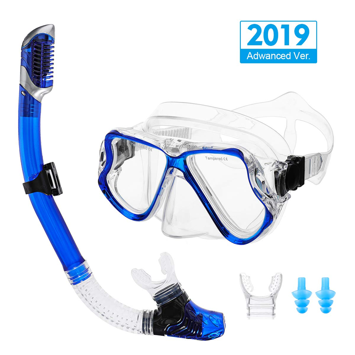 OUTERDO Snorkeling Set for Adults, Snorkel Mask with Ventilation Pipe Easy Breath, Wide View Diving Mask Anti Fog Anti Leak, Professional Snorkeling Gear for Snorkeling/Diving/Swimming(Blue) by OUTERDO