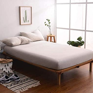 MisDress Jersey Knit Cotton Fitted Sheet Set 3 Pieces, 15  Deep Pocket, Ultra Soft and Easy To Put (King, Light Coffee)