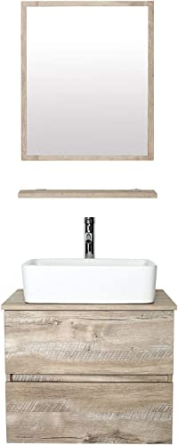 eclife 24 Bathroom Vanity Sink Combo Wall Mounted Natural Cabinet Two Drawers Vanity Set White Ceramic Vessel Sink Top
