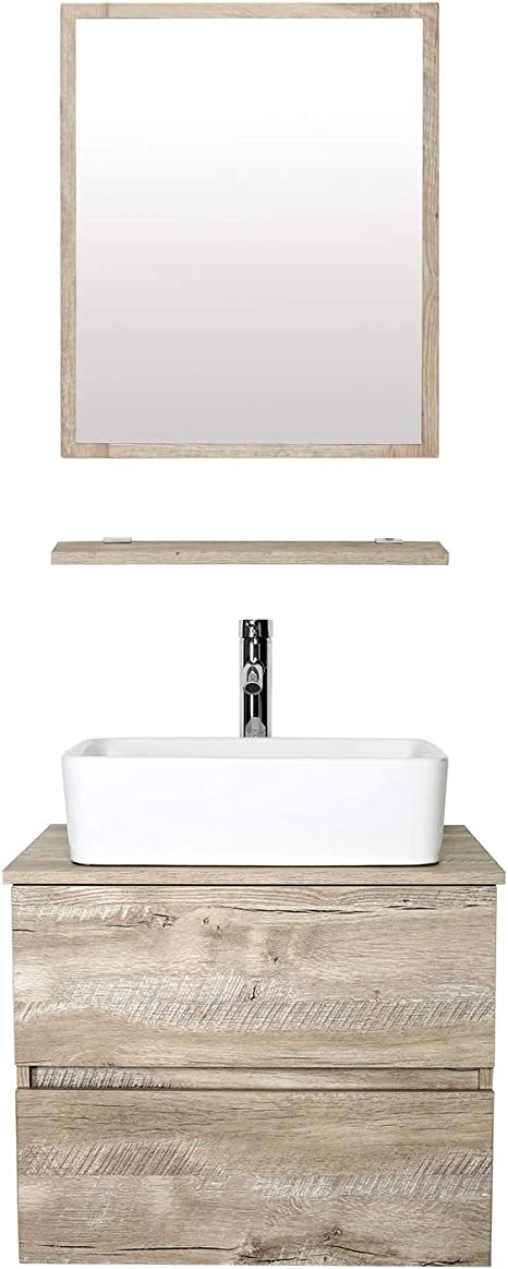 Amazon Com Eclife 24 Bathroom Vanity Sink Combo Wall Mounted Natural Cabinet Two Drawers Vanity Set White Ceramic Vessel Sink Top W Chrome Faucet Pop Up Drain Mirror T03e02ak Kitchen Dining