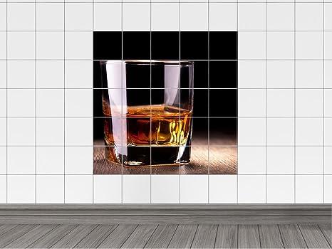 Piastrelle adesivo piastrelle quadro bicchiere da whisky bevanda