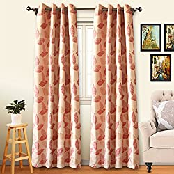 Eamior Room Darkening Balckout Curtain Set Window Treatment Thermal Insulated Solid Grommet Panels for Living Room (2 Panels, 63 inch Length, Red Falling Leaf Pattern)