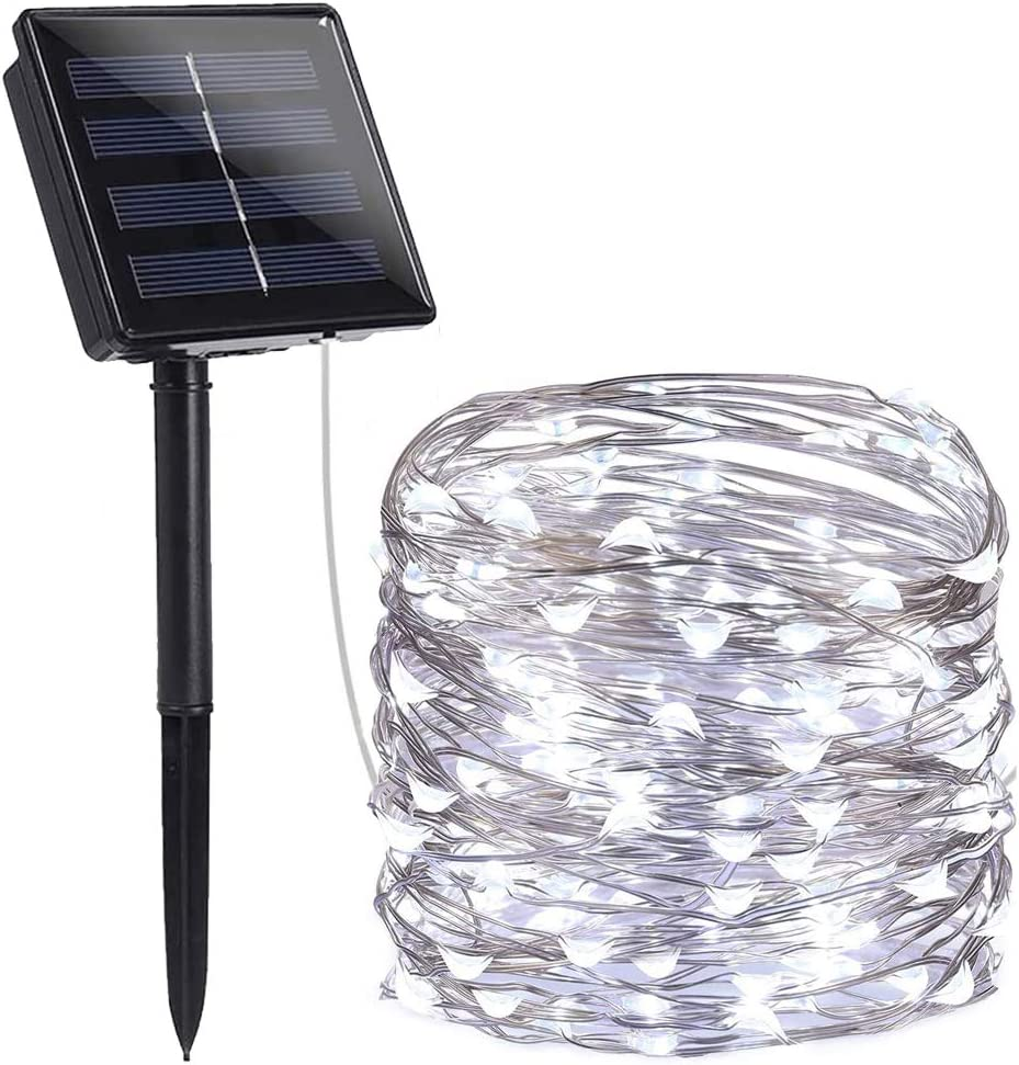 EIFFTER Solar String Lights, 99 FT 300 LED 8 Modes Copper Wire Lights,Solar Powered Fairy Lights Indoor Outdoor Waterproof Solar Decoration Lights for Garden, Yard, Home, Dancing, Party (Cool White)