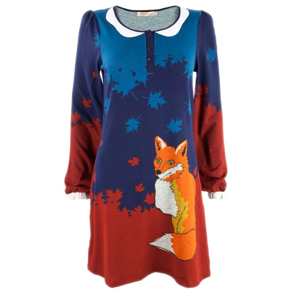 Fox in Leaves Women's Sweater Dress - Small Animal World AW032764-SM