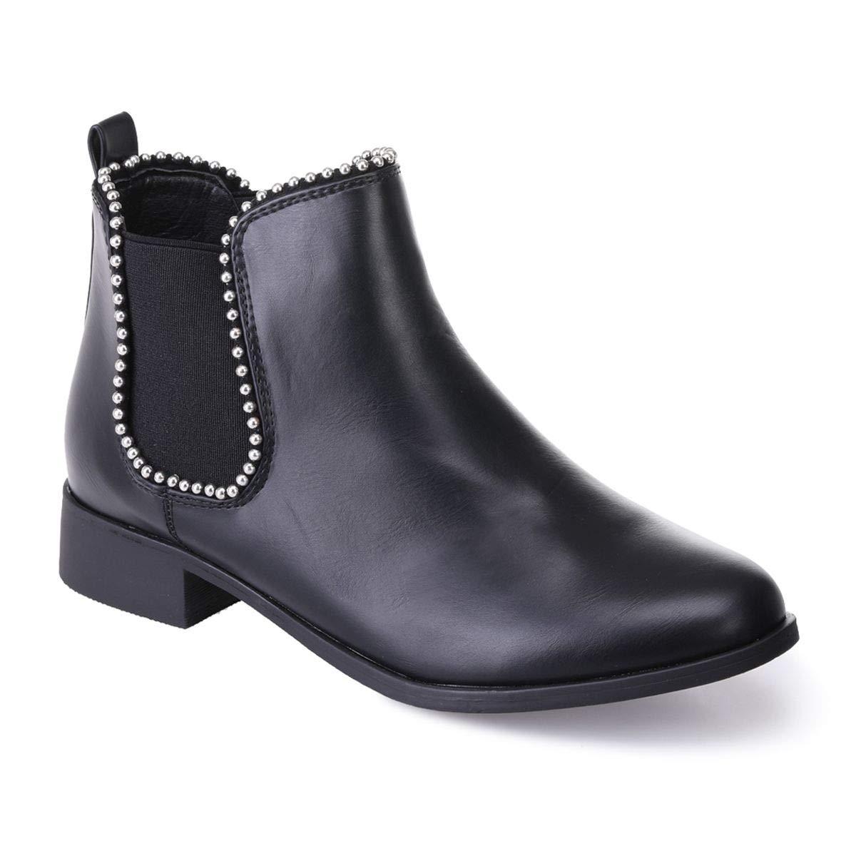 La Noir Simili Modeuse - Chelsea Boots en Simili à Cuir à Bout Rond et Talon carré Noir cab191a - reprogrammed.space
