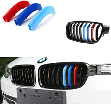 NOT for 8-Beam Black Grille nor M3 Lanyun BMW M Colors Grille Insert Trims Decorate For F30 3 Series 320i 328d 328i 335i 340i w// Standard Kidney Grill 11 Beams