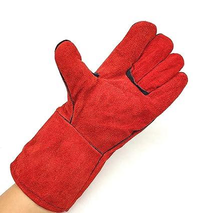 Guantes de soldadura, guantes de soldador de cuero largos, guantes de soldar, protección