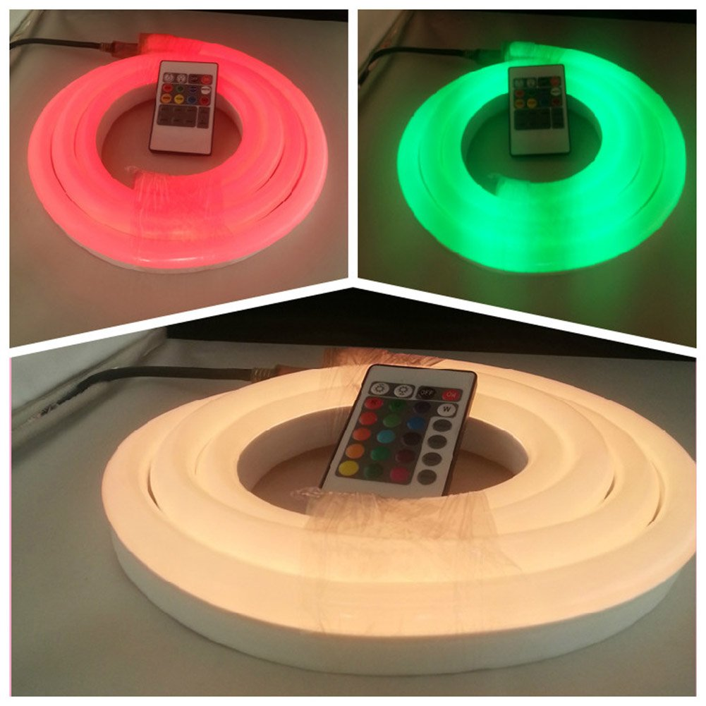 24V RGB LED NEON LIGHT, Vasten Flexible RGB LED Neon Light Strip, Waterproof, Multi Color Changing 5050 SMD LED Rope Light + Remote Controller for Home Decoration (5M/16.4ft)